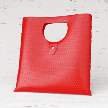 Red tote bag Personalized tote bag Women's handmade handbag Embossed tote bag Valentine's day gift idea for her Vegan no leather handbag