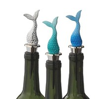 Mermaid Tail Wine Bottle Stopper (Silver)