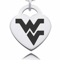 Sterling Silver West Virginia Mountaineers Heart Charm