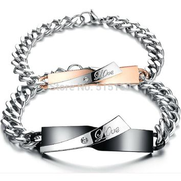 Unisex- Stainless Steel-Black And Gold Silver- Couple's Matching- Bracelet  His And Her Bracelet Set.