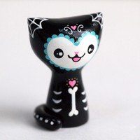 Day of the Dead Cat Collectible Figurine - Blue Trim