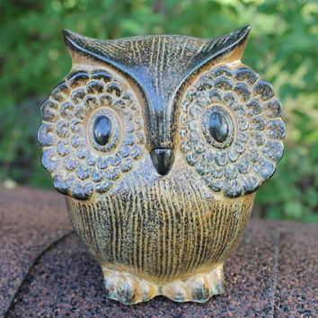 Vintage Textured Ceramic Brown Owl Bank Figurine with Large Eyes