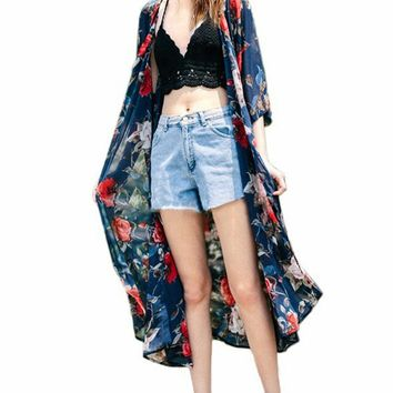 Streetstyle  Casual Longline Snap Front Floral Printed Chiffon Kimono