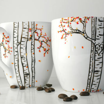 Autumn Aspen Forest - 2 Large Personalized Mugs - Hand Painted