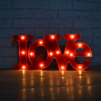 Marquee Letters Light Red 'LOVE' Word LED Letter Sign Night Lamp Light up Letters and Illuminated Home Wedding Decorations