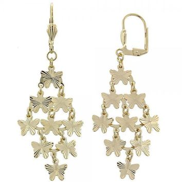 Gold Layered 02.63.2206 Chandelier Earring, Butterfly Design, Diamond Cutting Finish, Golden Tone