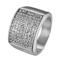 Stainless Steel Pinky Ring Iced Out Hip Hop Wedding Engagement Silver Tone Bling