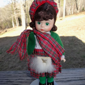 1970s Vintage Madame Alexander Kins 8 Inch Scotland International Doll, Bend Knee, Red Plaid Kilt, Tam, Scarf, Knee Socks, Vintage Doll