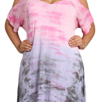 Womens PLUS SIZE Pink & Purple Cold Shoulder Tie Dye Tunic Top