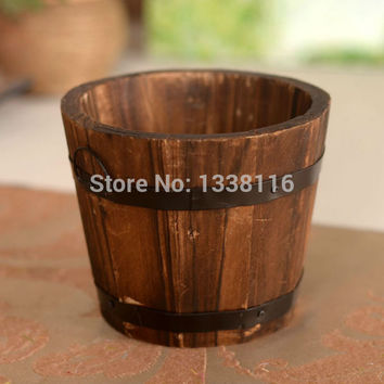 Free shipping High Quality Flower vase wooden barrel  vase home decoration Receiver Flower Set