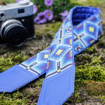 Ethnic camera strap. Tribal camera strap. Blue, black, yellow replacement strap for mirrorless, DSLR, SLR cameras. Bright, eye catching!