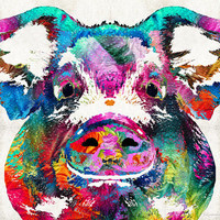 Colorful Pig Art  PRINT from Painting Bacon Pork Porcine Farm Animal Pigs Pink Ears Snout CANVAS Ready Hang Large Artwork Funny Fun Kitchen