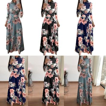 GZHOUSE Women Floral Maxi Dress Beach Evening Party Long Sleeve(With Sashes)