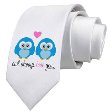 Owl Always Love You - Blue Owls Printed White Neck Tie by TooLoud