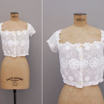 Ballad of Spring Blouse - Vintage 1910s Embroidered Edwardian Top - White Cotton Floral Lace XS Extra Small Blouse