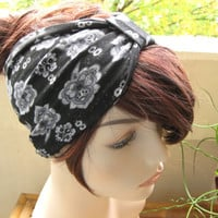 Knot Headband, Cinched Turban, Turband, Head Hair Wrap, Black Damask Print, Jersey Knit Fabric, Fall Fashion Hair Accessories