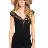 Sleeveless Top W/ Lace Trimmed Neckline