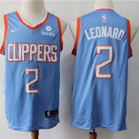 2019-2020 Los Angeles Clippers 2 Kawhi Leonard Light Blue City Edition Jersey