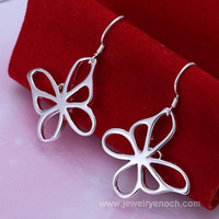 hot fashion series 925 silver butterfly shaped earring