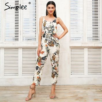 Women's Floral Loose Ruffled Jumpsuit