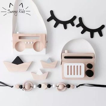 2 Pcs Cartoon 3D DIY Wooden Eyelash Wall Stickers for Kids Rooms Bathroom Kitchen Closed Eye Home Decoration Accessories Decor