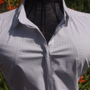 Worthington Button Up White Check Stretchy Short Sleeve Blouse Top Size Med