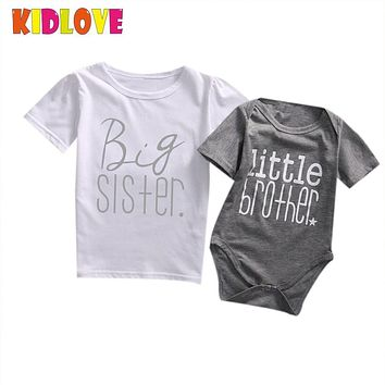 KIDLOVE Newborn Baby Family Tops Litter Brother Rompers Big Sister T-shirt Letter Printing Short Sleeve Rompers or T-shirt ZK20