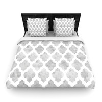 "Amanda Lane ""Gray Moroccan"" Grey White Fleece Duvet Cover"