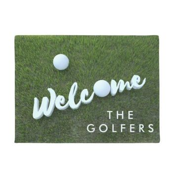 Autumn Fall welcome door mat doormat Green Funny Golf Welcome Mat Novelty  Entrance for the Golfers Cool Ball Game Sports Home Floor Rug Decor Carpet Rubber AT_76_7