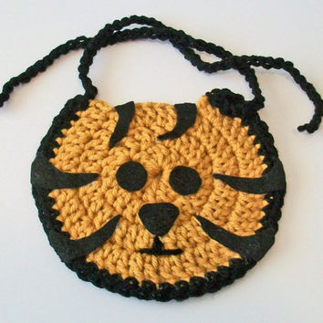 So Cute Hand Crocheted Black and Gold Tiger Head Baby Bib Great Photo Prop Matching Hat Also Available