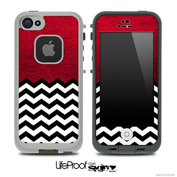 Mixed Red Leather and Chevron Pattern Skin for the iPhone 5 or 4/4s LifeProof Case