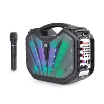 Portable Bluetooth Karaoke Speaker System, Flashing DJ Lights, Built-in Rechargeable Battery, Wireless Microphone, Recording Ability, MP3/USB/SD/FM Radio