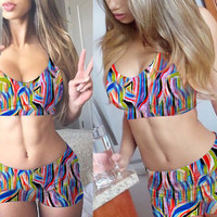 Multi Color Abstract Print Bralet and Mini Shorts