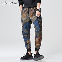 ZhenZhou M-2XL 3XL 2017 New Floral Casual Spring Harem Pants Men Fashion Casual Men Pants Mens Joggers Pant Pantalones Hombre