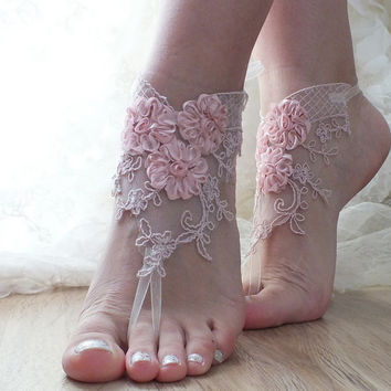 pink lace bridal anklet, beach shoes, bridal sandals, wedding bridal, barefoot sandles, pink sandals, wedding shoes, summer wear, handmade