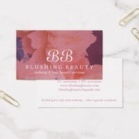 Chic Pink Blush And Violet Beauty And Hair Business Card