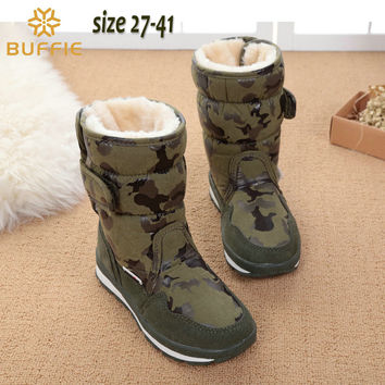 children's shoes camouflage boys winter boots girls waterproof kids winter boots warm fur lining fashion popular brand snow boot