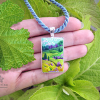 TUSCANY LANDSCAPE nature pendant, silver tone rectangle bezel, polymer clay painting / applique embroidery. Wearable art. Gift idea for her