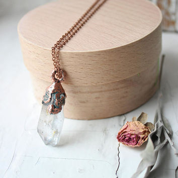 Electroformed quartz necklace Quartz necklace Electroformed quartz Electroformed pendant Crystal pendant Crystal necklace For girl For her