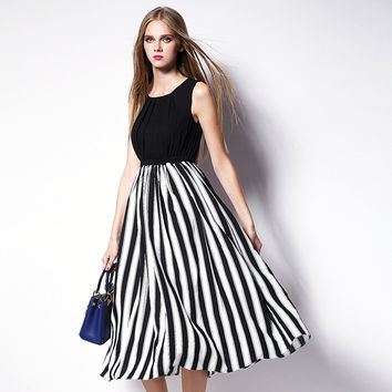 Black Sleeveless Striped Dress