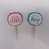 12Pcs/lot  baby shower Its boy girl Party cupcake toppers picks Birthday Party Decoration Kids Supplies