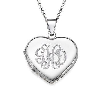 Sterling Silver Heart Locket Necklace with Engraved Monogram - Custom Made with Any Initials! (18 Inches)