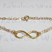 Gold Infinity Bracelet, Hammered 14K Gold Filled Wire, Everyday Wear And bridesmaid gifts