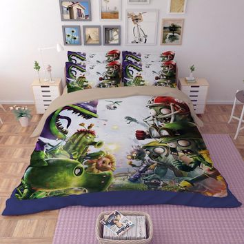 Luxury Duvet cover sets 3D Plants vs. Zombies painting bedclothes kids boy bedding sets full queen king size Good quality bedset