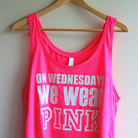 On Wednesdays We Wear Pink Cropped Tank Top - White on Neon Pink