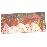 "Marianna Tankelevich ""Pink Space Mountain"" Multicolor Coral Mixed Media Desk Mat"