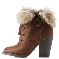 Brown Faux Fur-Cuffed High Heel Combat Booties by Charlotte Russe