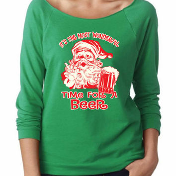 It's The Most wonderful Time  For A Beer. Ladies Terry Off Shoulder Raglan Sweater. Terry Raw Edge 3/4-Sleeve. Funny Christmas Sweaters.