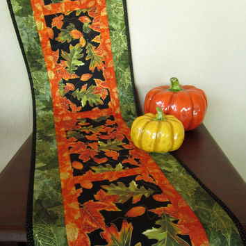 Quilted Fall Table Runner Handmade Orange and Green Autumn Leaves Home Decor