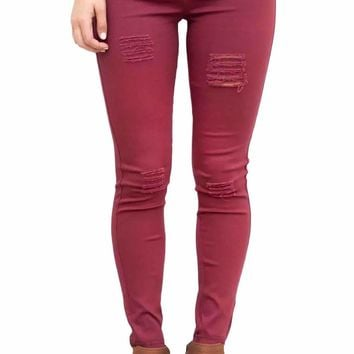 Burgundy Distressed Front Stretch Denim Pants
